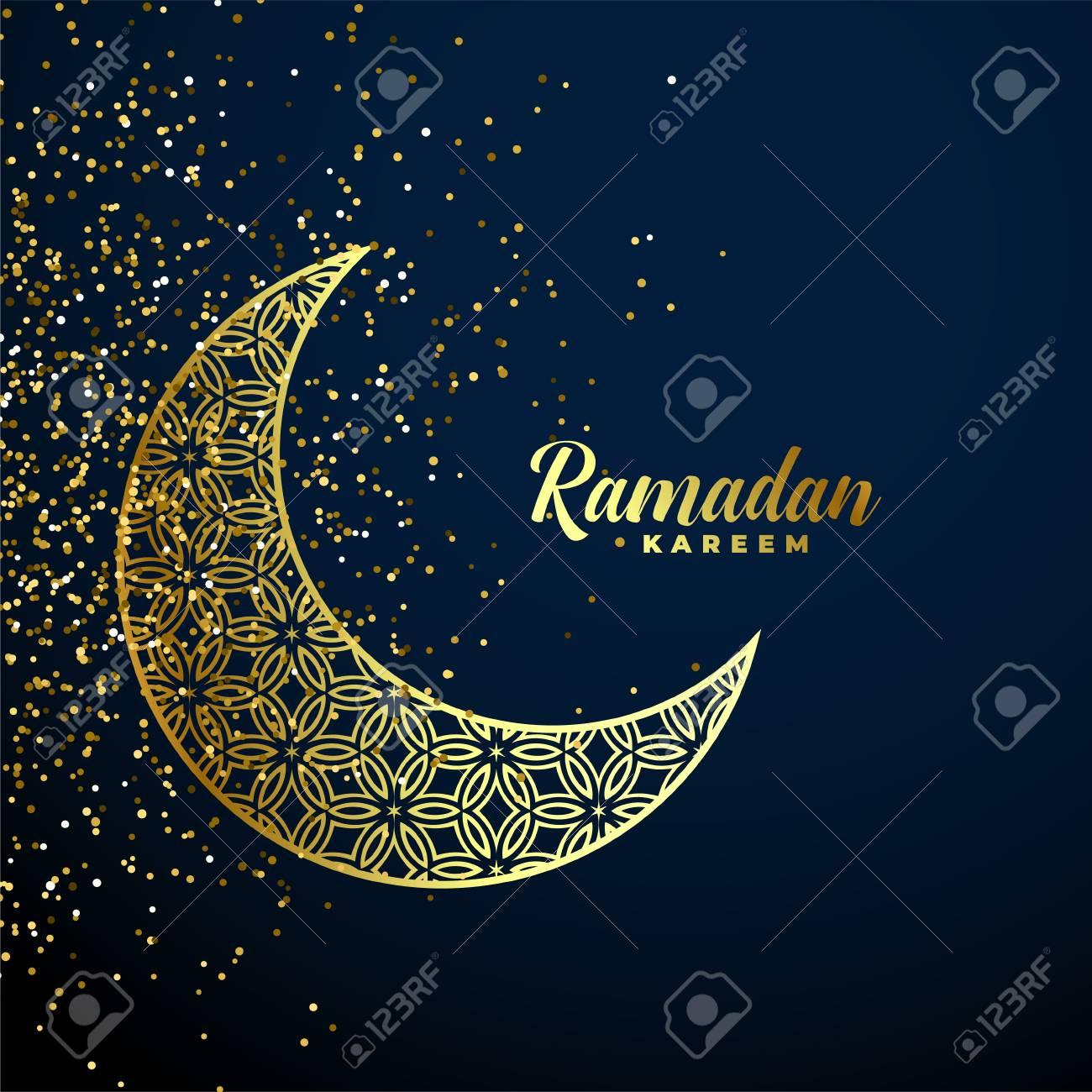 golden decorative moon with glitter ramadan kareem background - 120097429