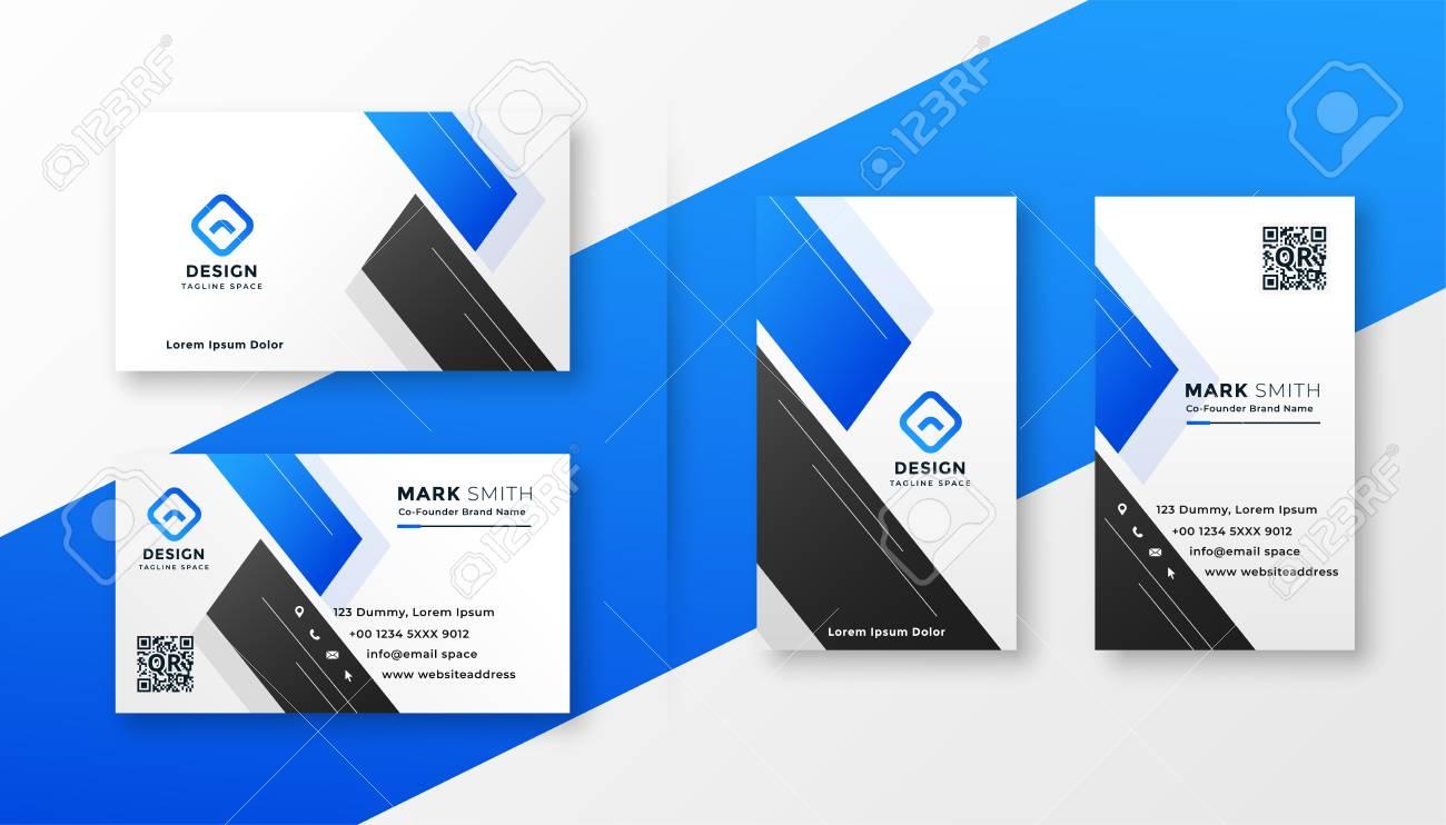 clean blue business card stylish design - 123420637