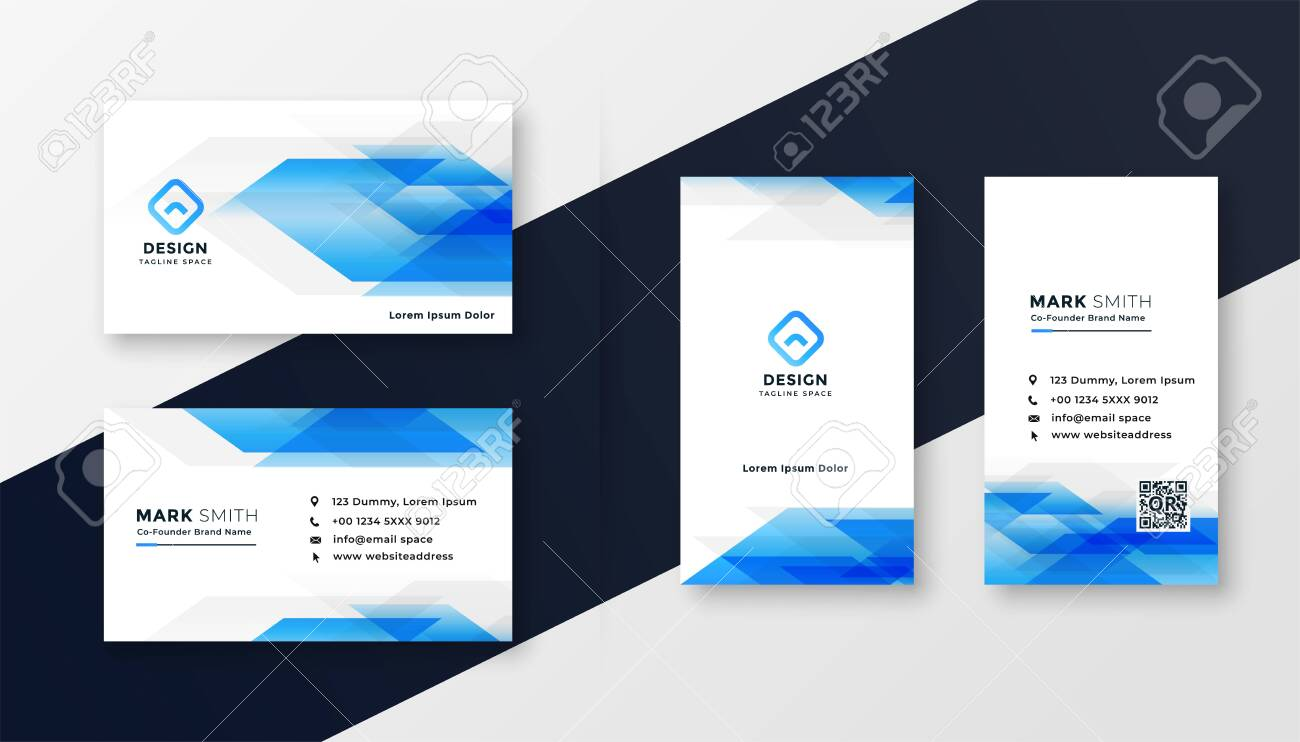 creative blue abstract business card design - 123420639