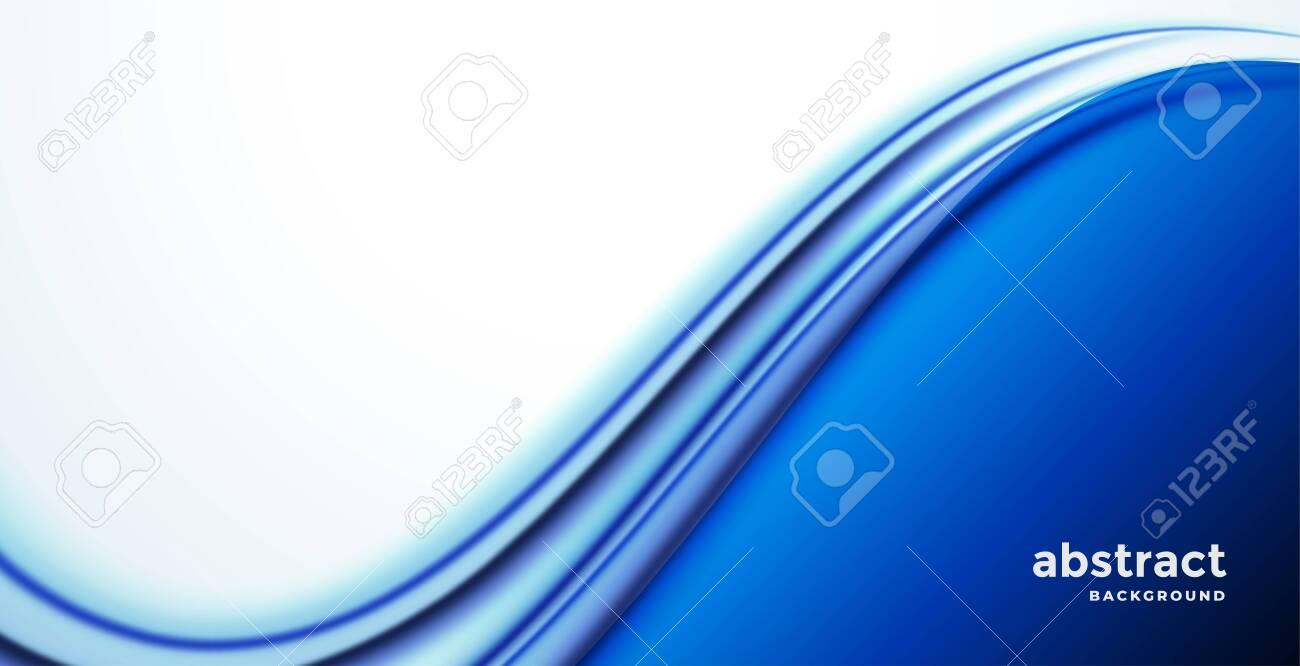 stylish blue business wave presentation background - 128532451