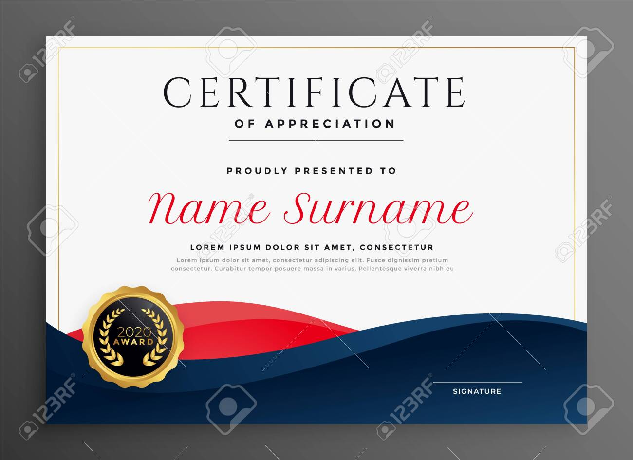 elegant blue and red diploma certificate template design - 126845084