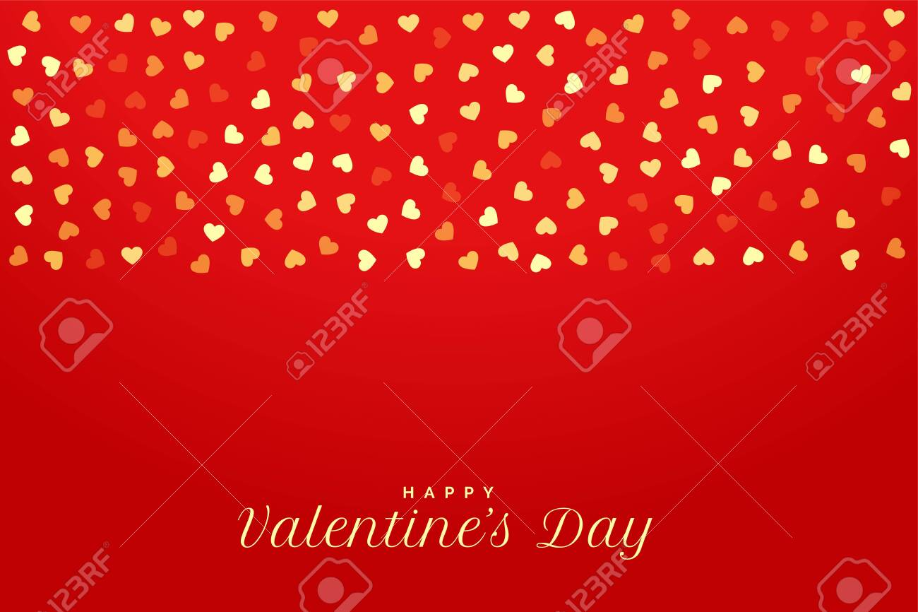 valentines day red background with golden hearts - 136990521