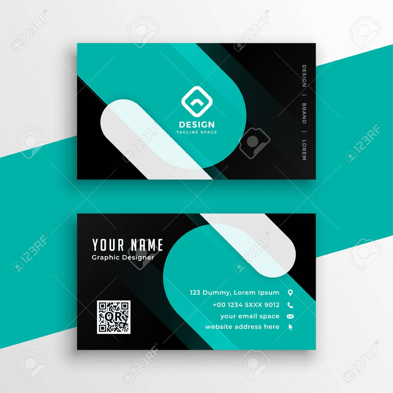 modern turquoise and black business card template design - 154341697