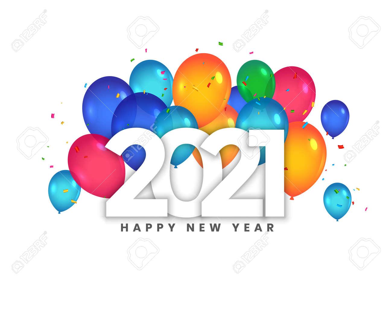 happy new year 2021 balloons celebration background design - 158511011