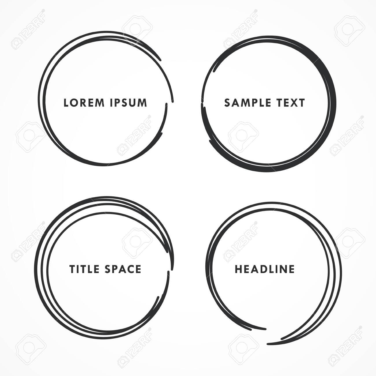 four abstract hand drawn circle frames - 148921467