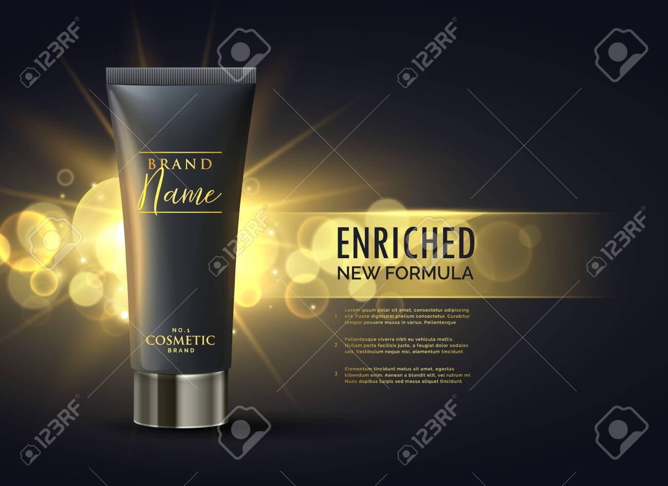 cosmetic product packaging design concept for premium brand in dark gold bokeh background - 148918178