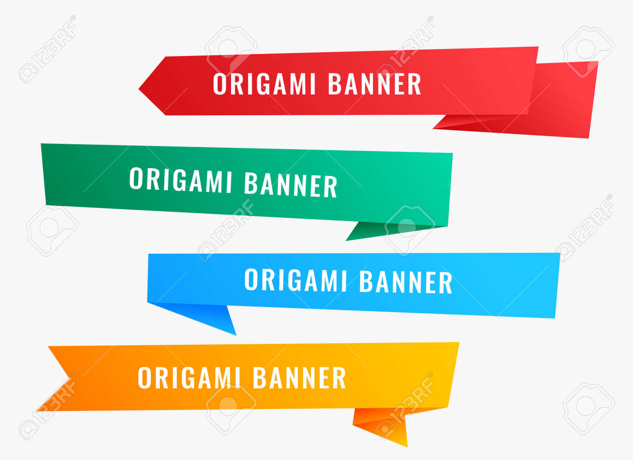 wide origami banners in ribbon style - 149118250