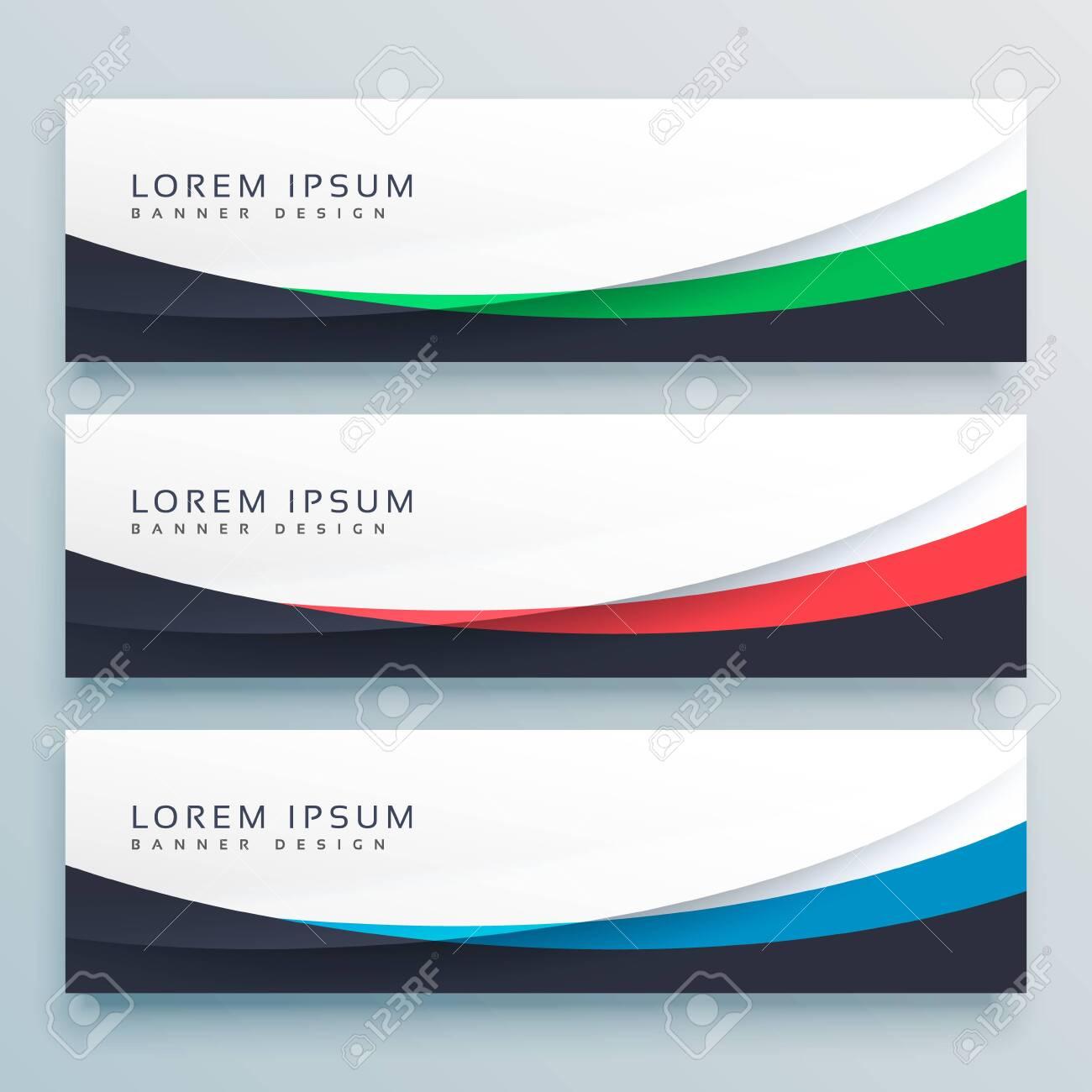 three wavy web banners header vector design - 149119610