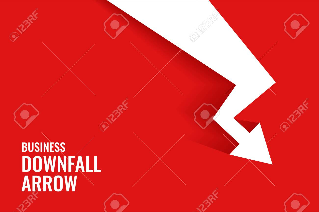 red downfall arrow showing downward trend background - 149948586