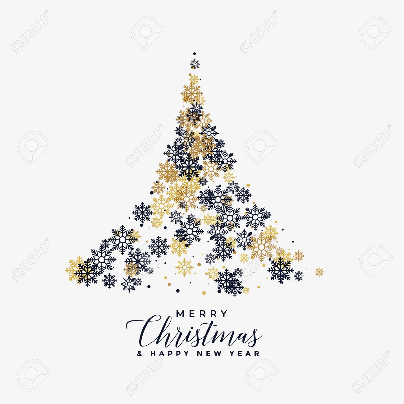 christmas tree made with snowflakes background - 150207211