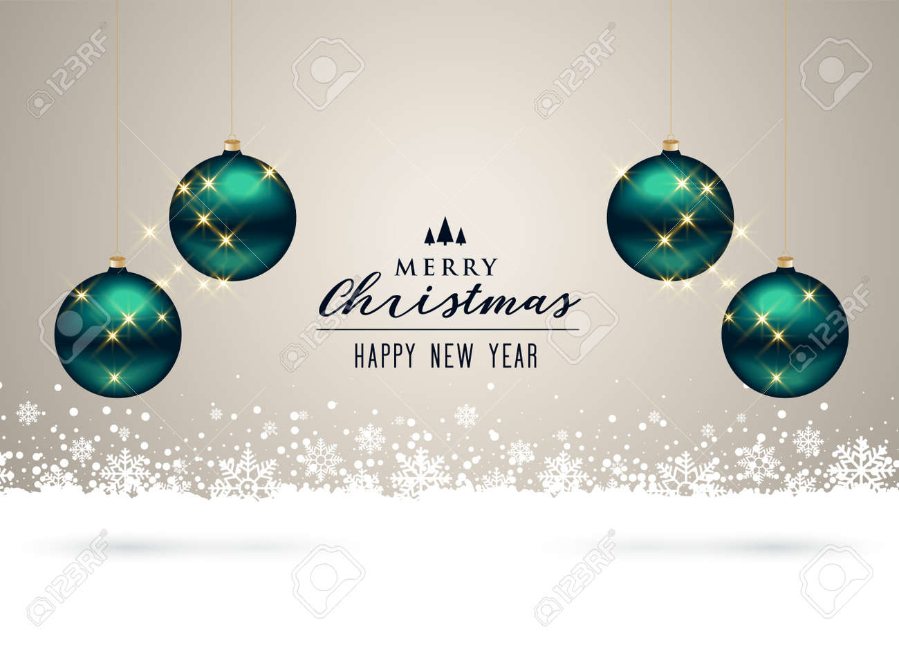 christmas background with balls and snowflakes decoration - 150206694