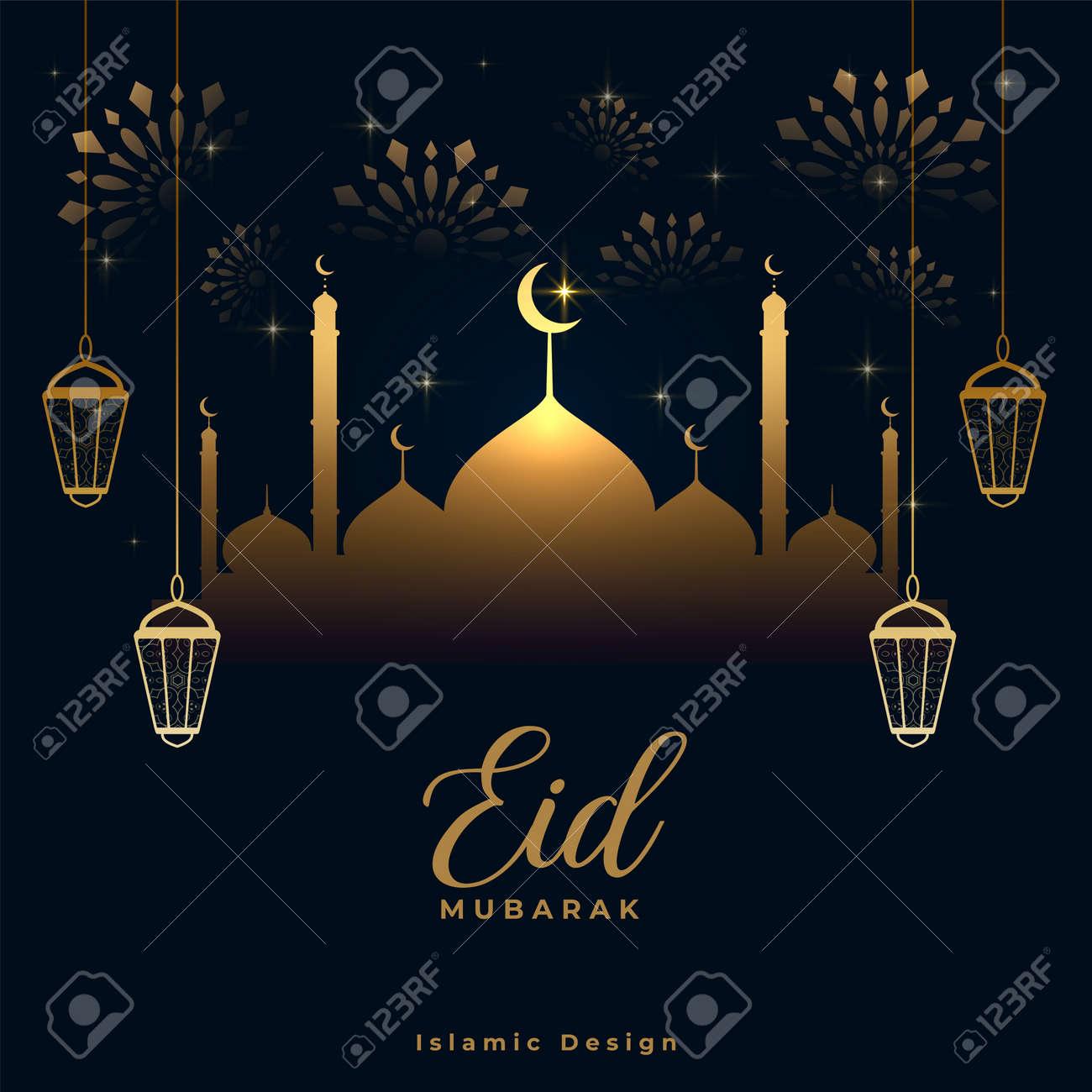 shiny eid mubarak golden and black card design - 167909700