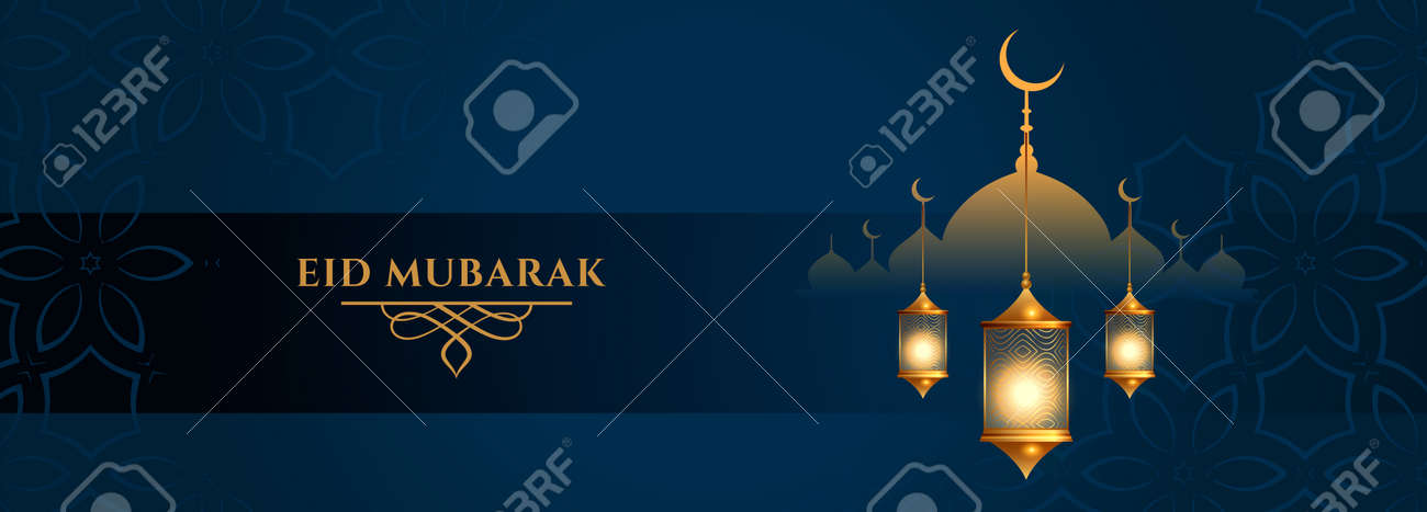 eid mubarak lantern and mosque festival banner - 167909725