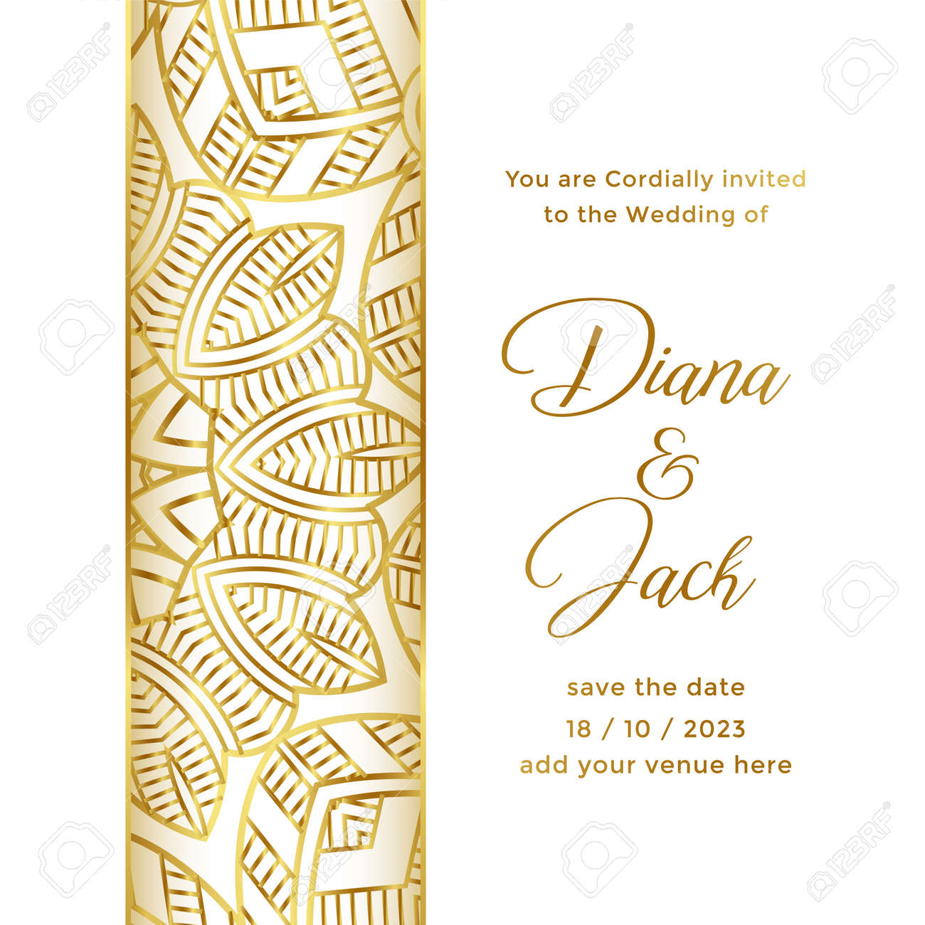 wedding card template with ornamental decorative style - 167909871