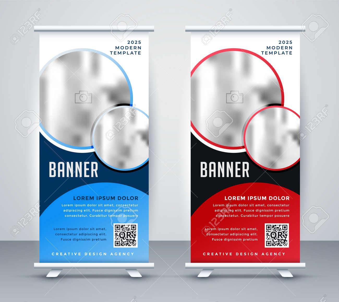 vertical roll up banner standee template design - 167909898