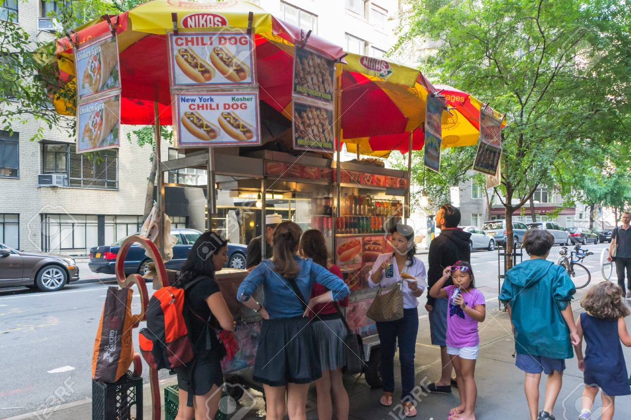 New York City, USA - August 3, 2013:People queuing at a characteristic