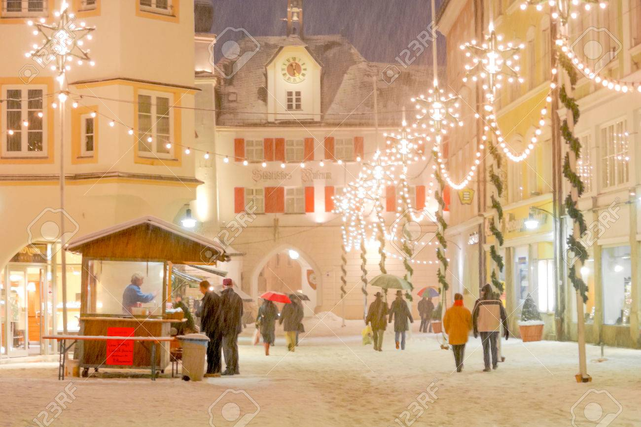 Christmas Decorations A Historic Medieval Era Alpine Town Stock
