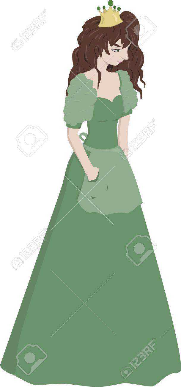 A young teenage princess dressed in a green gown. Stock Vector - 15439826