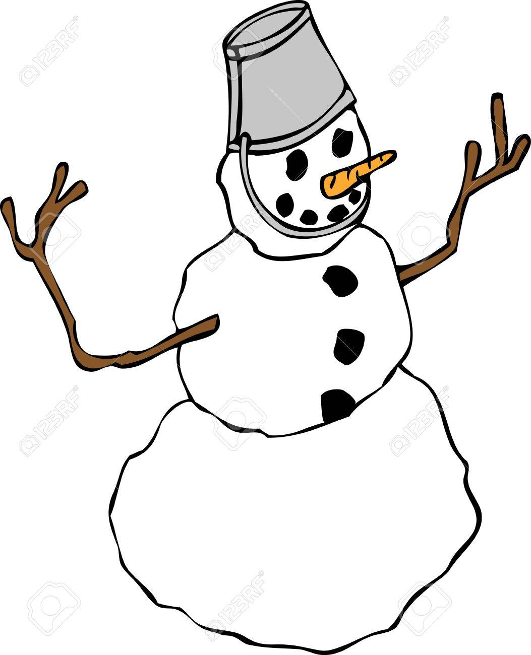 A cheerful snowman with a bucket for a hat. Stock Vector - 16483558