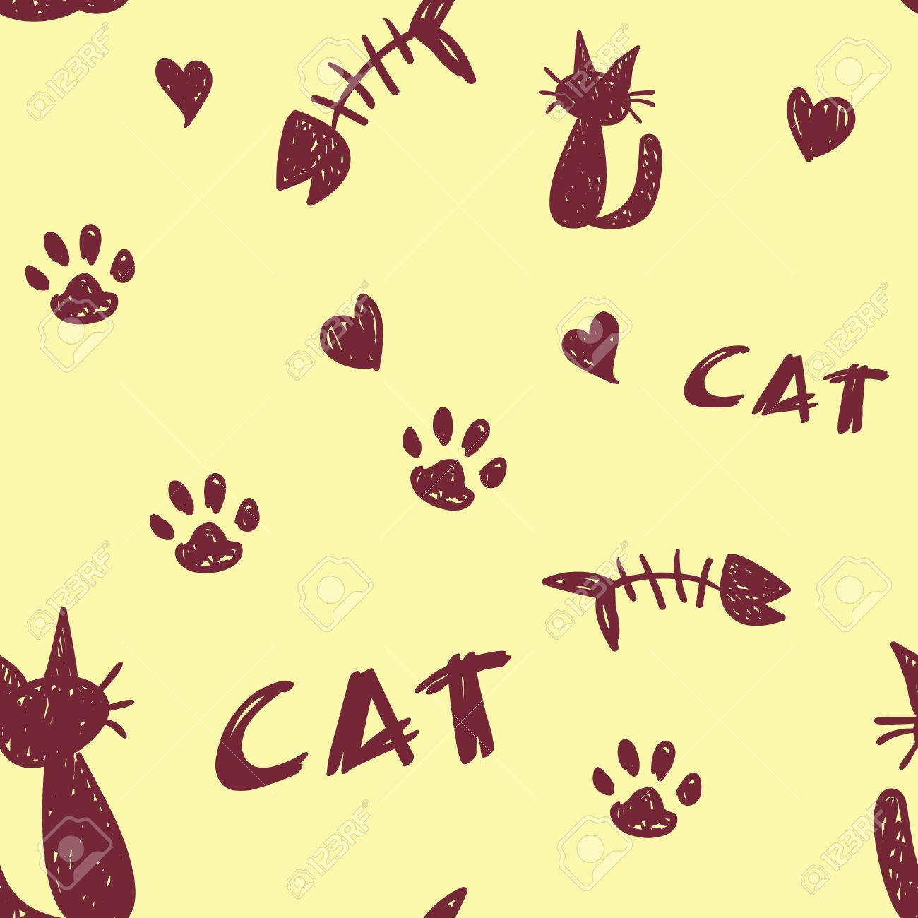a seamless pattern of cat shapes paw prints and fish bones on a pale yellow