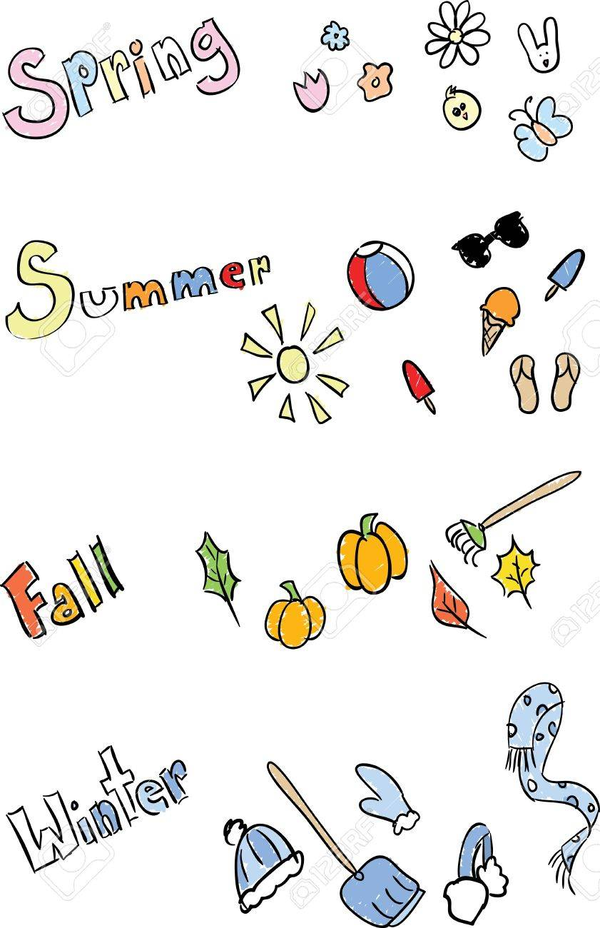 Sketchy decorative elements of each season. Stock Vector - 19736401