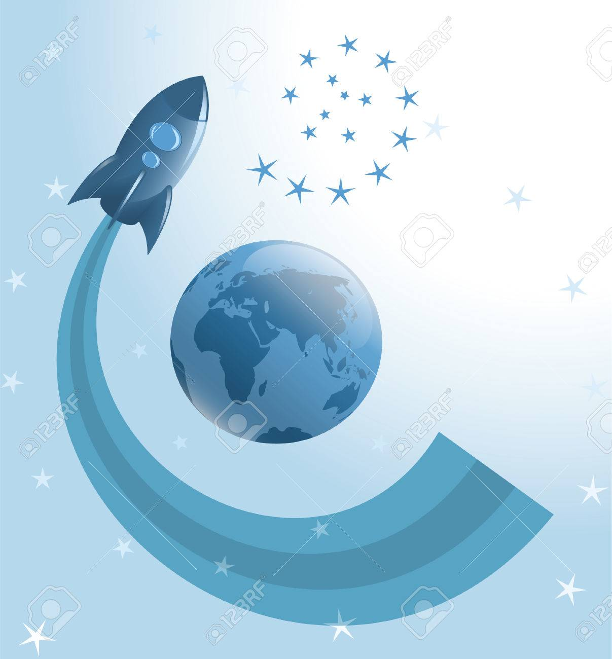 Rocket moving around the Earth Stock Vector - 7101275
