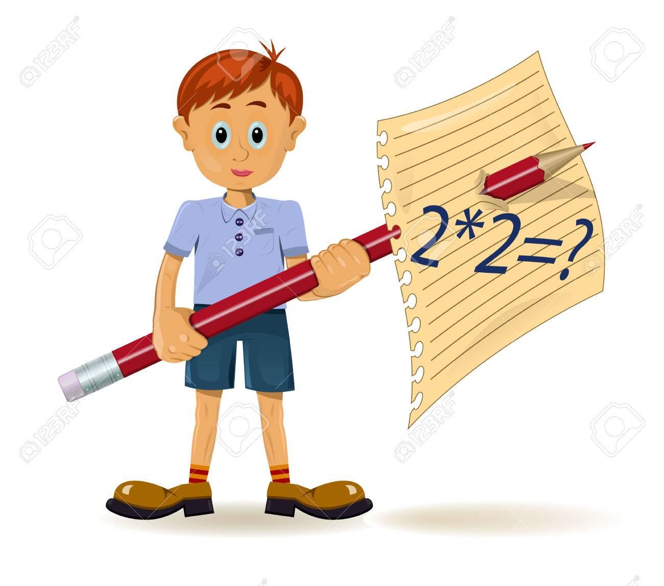 Boy And Pencil. Funny Cartoon Character Royalty Free Cliparts ...