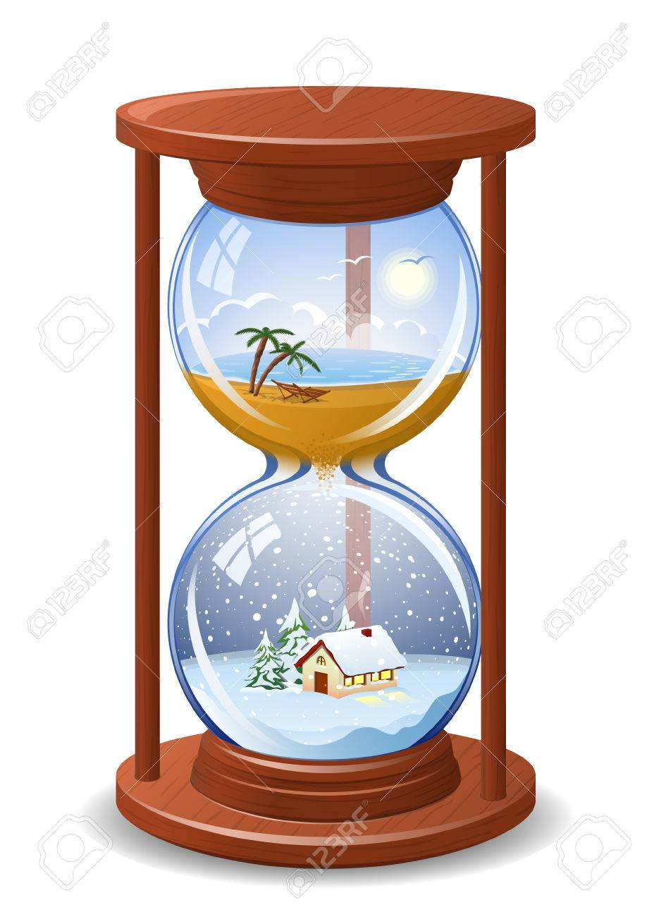 From summer to winter sandglass. High detailed illustration Stock Vector - 8768893