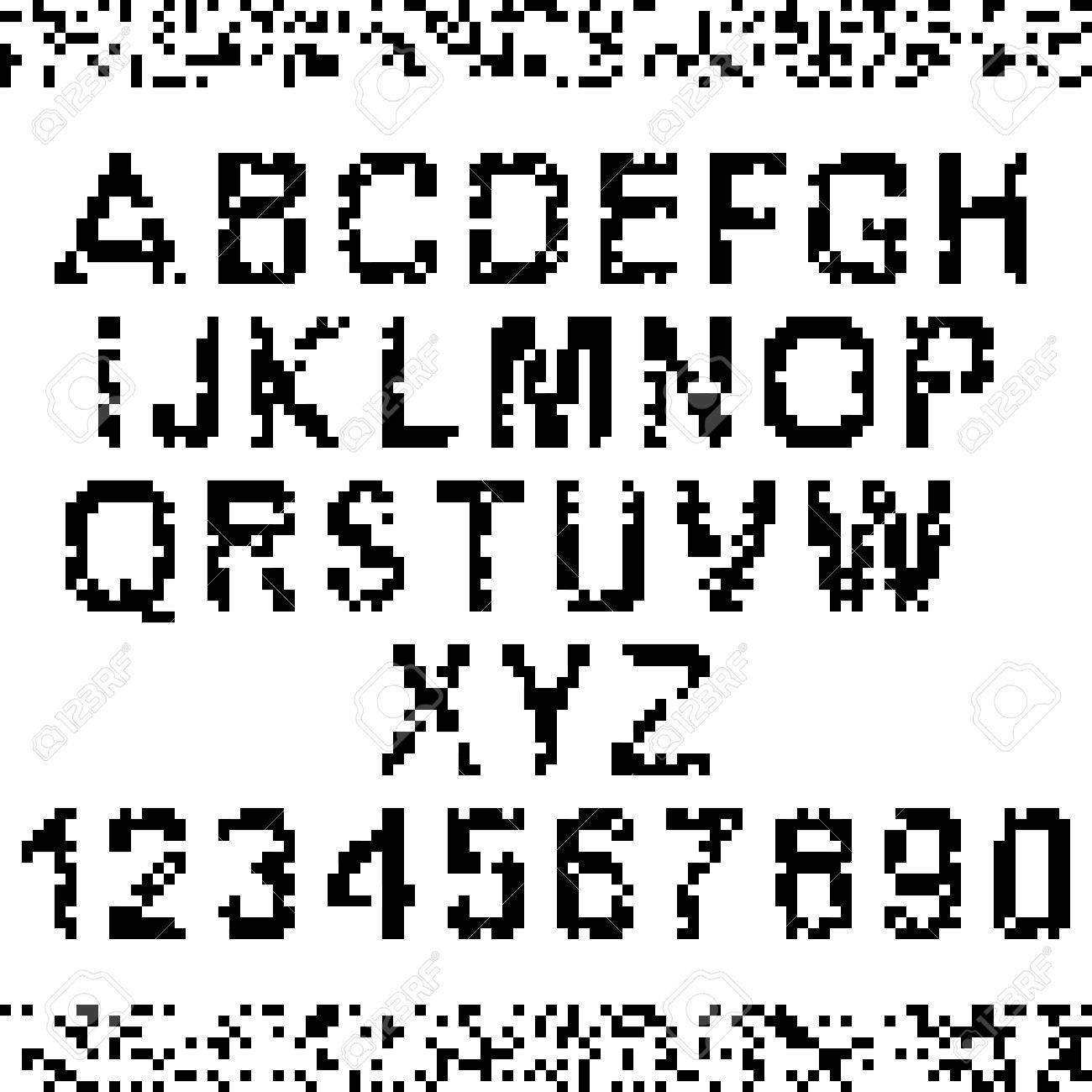 Corrupted upper-case pixel letters and numbers  Easy to edit