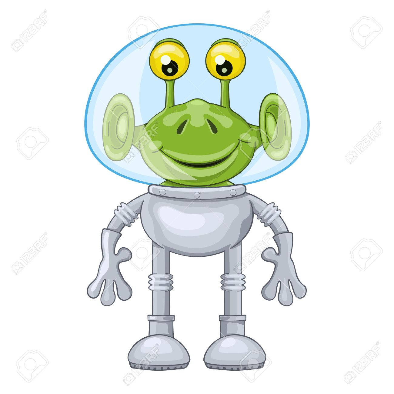 Funny Cartoon Alien In Spacesuit On White Background Stock Vector
