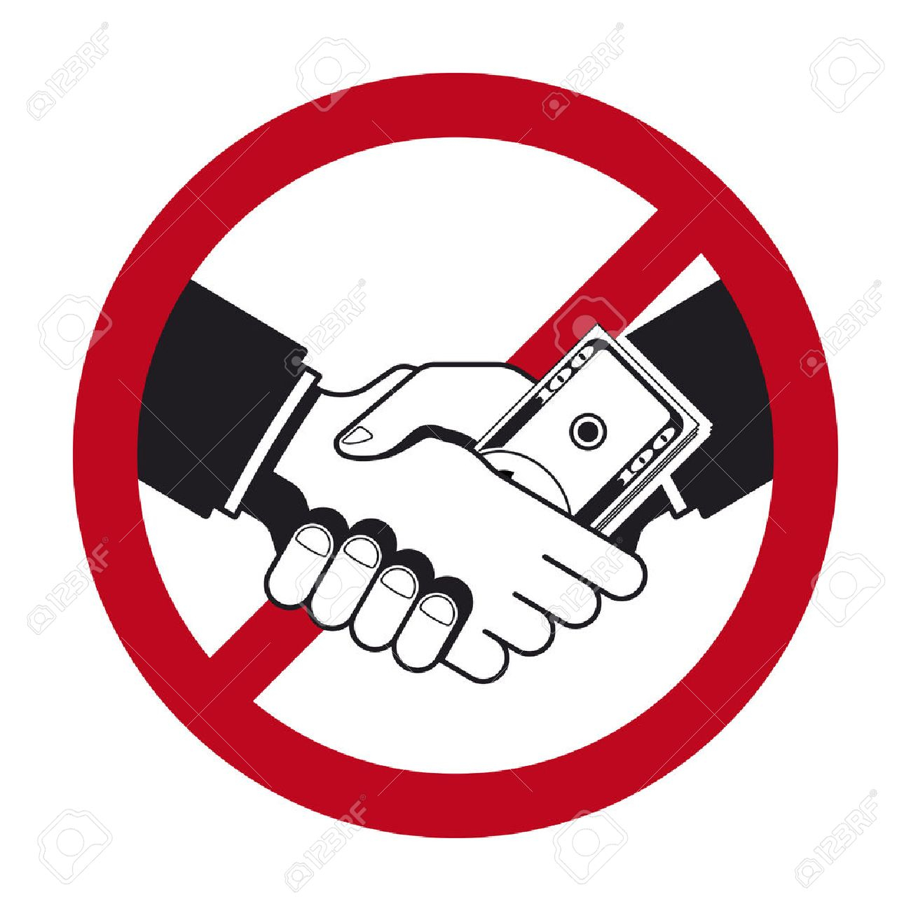 Handshake with bribe over prohibitive sign - 46535115