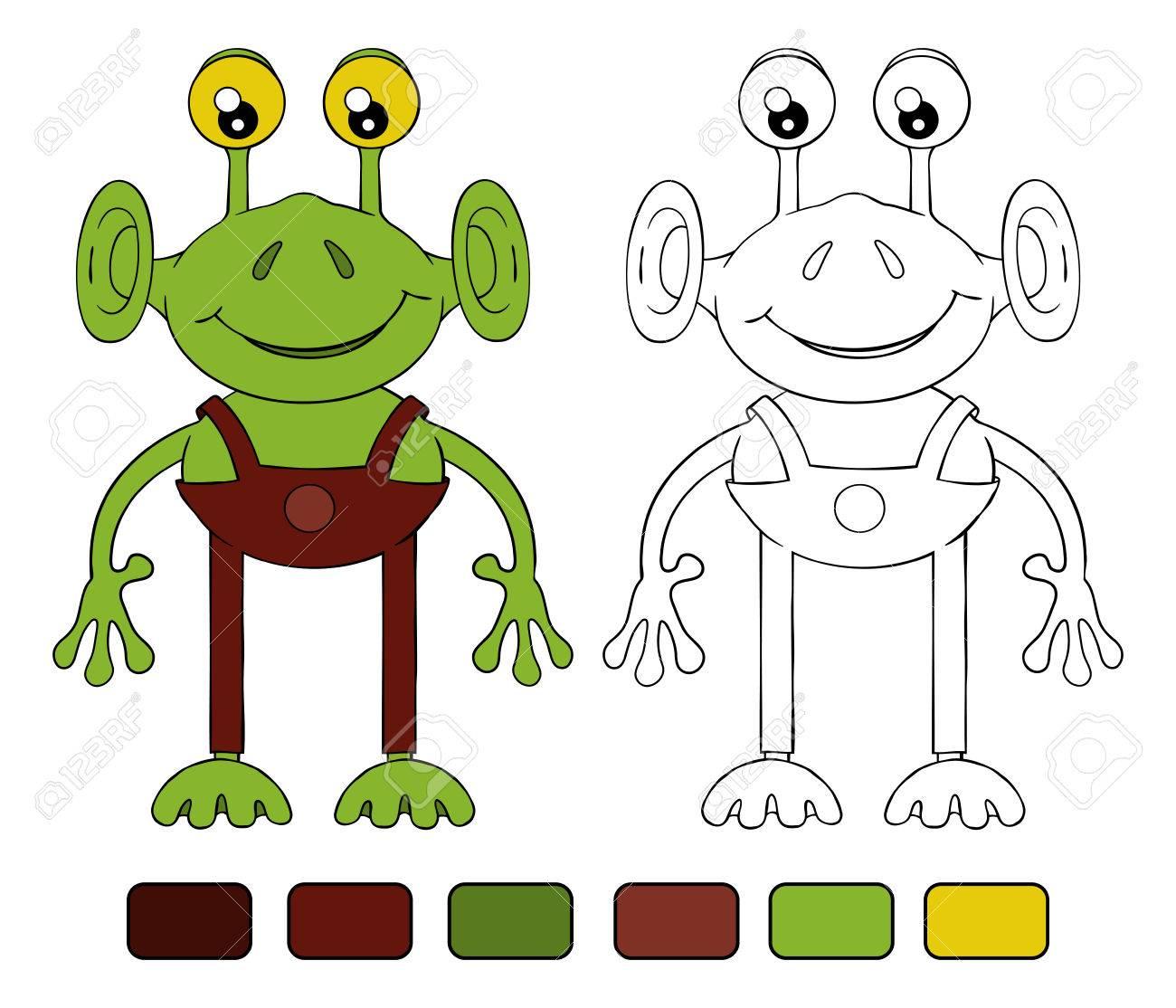 Funny Cartoon Alien Coloring Book Royalty Free Cliparts Vectors