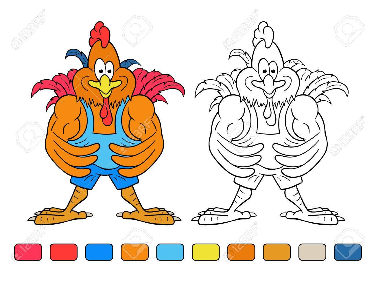 Divertidos Dibujos Animados Gallo-culturista Muestra Sus Enormes ...