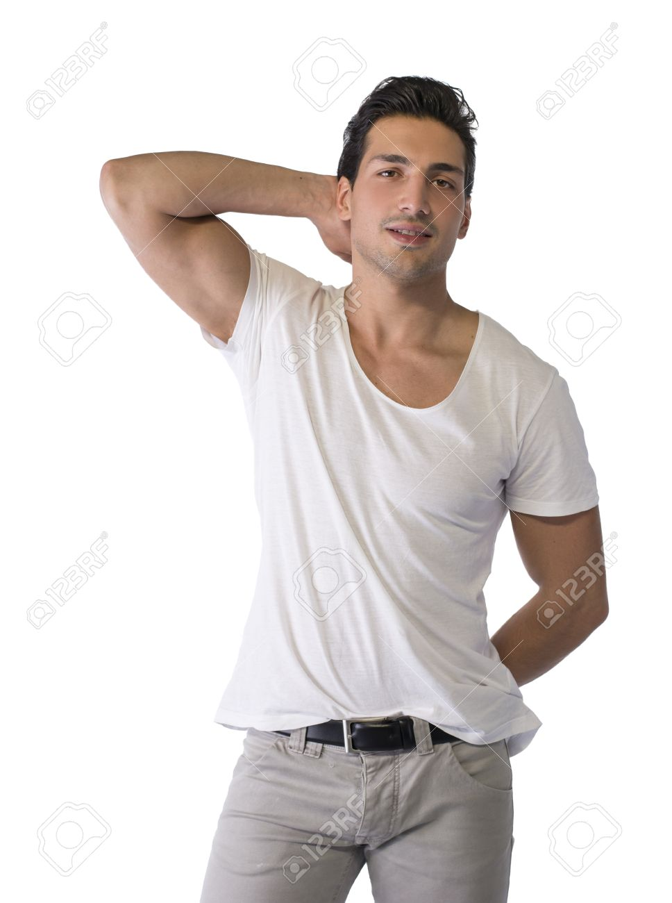 Brown Eyed Black Haired Latin Man Standing On White Background