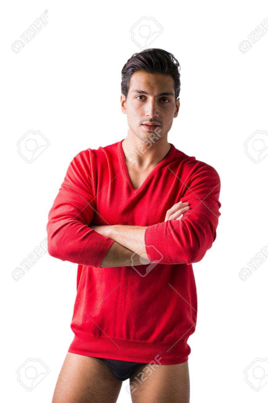 A young man with red wool sweater and underwear, front view,