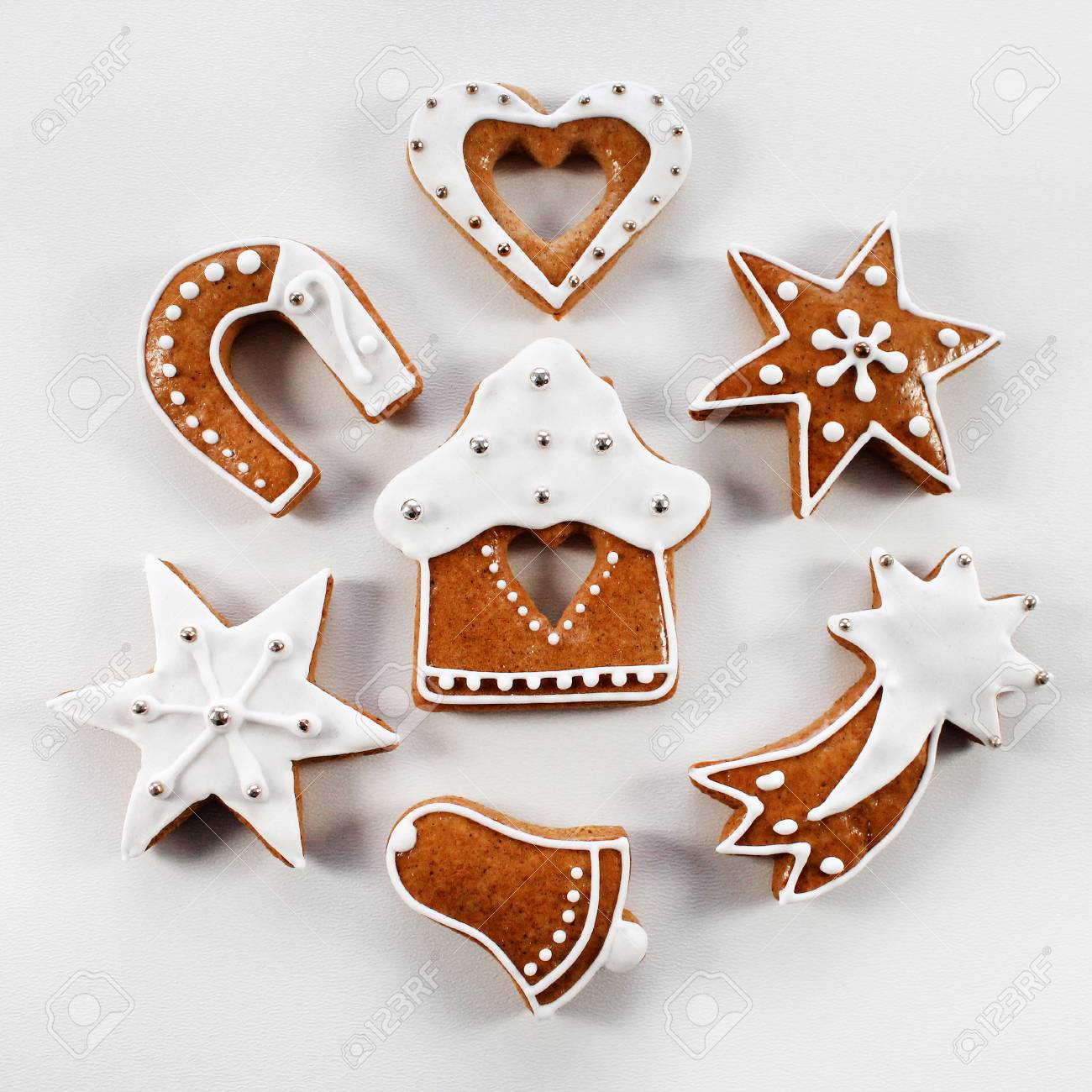 Christmas Gingerbread Handmade With White Icing Stock Photo, Picture ...