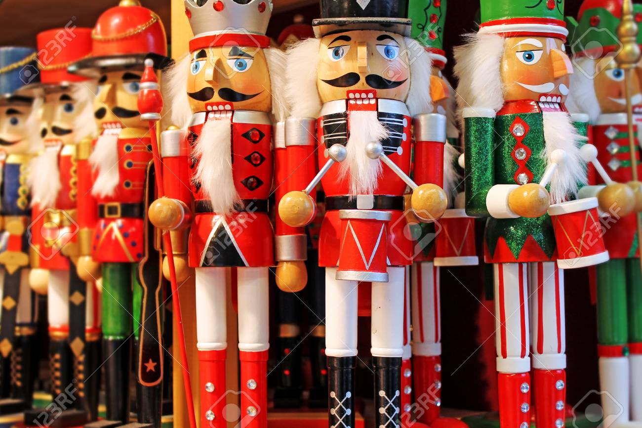 christmas decoration nutcrackers for sale on advent market austria salzburg stock photo