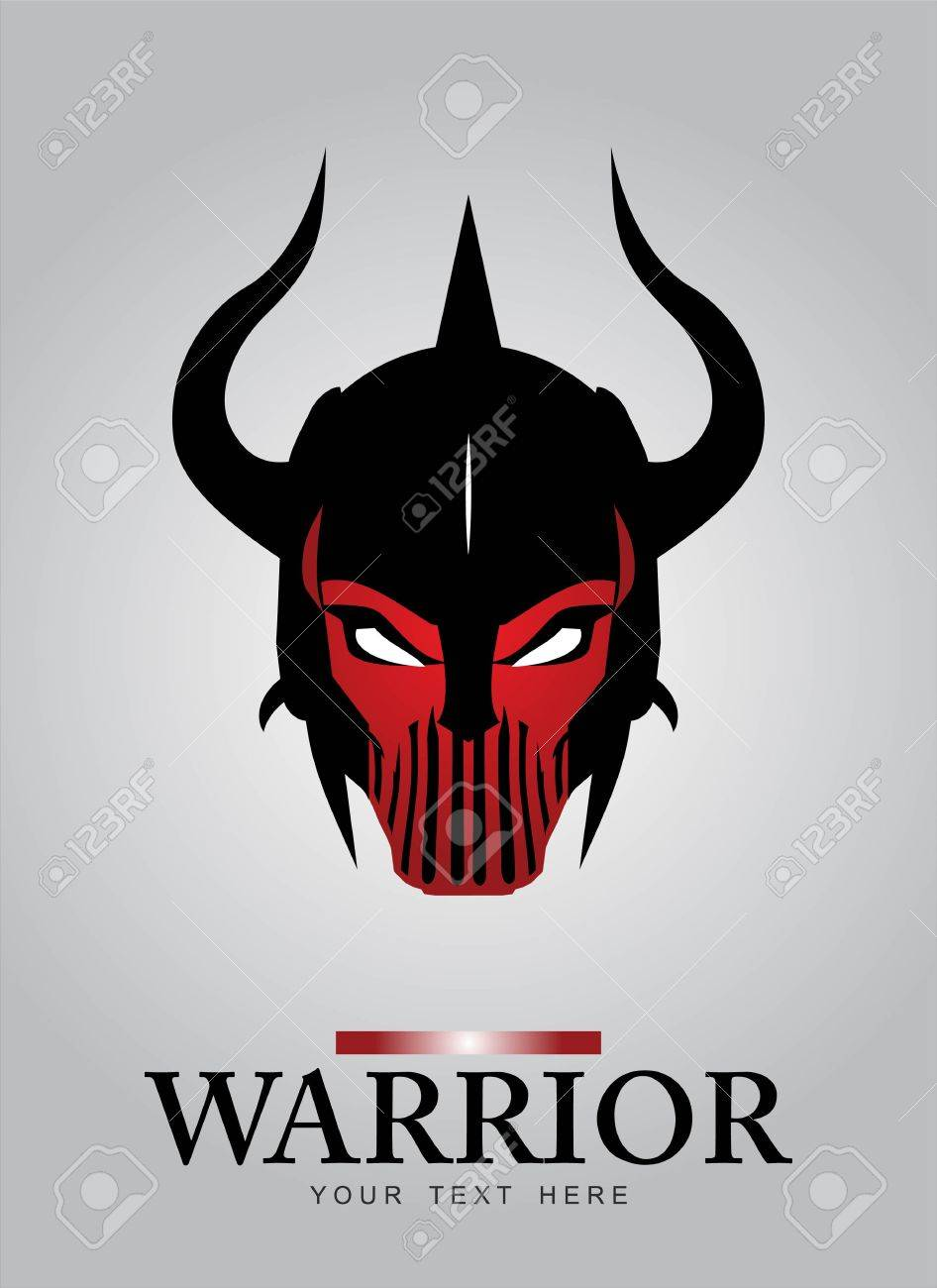 Horned head Warrior Mascot. Black Horned Warrior. Black Warrior helmet. ancient warrior head. Suitable for game icon, team identity, insignia, emblem, symbol, mascot, motorcycle/biker community, etc. - 61068132