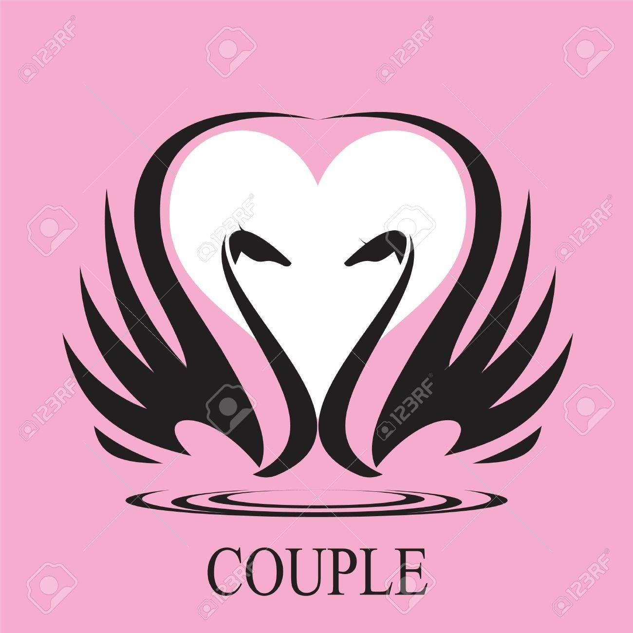 Paar Paar Schwan Und Herz Symbol Paar In Der Liebe Verwendbar Fur