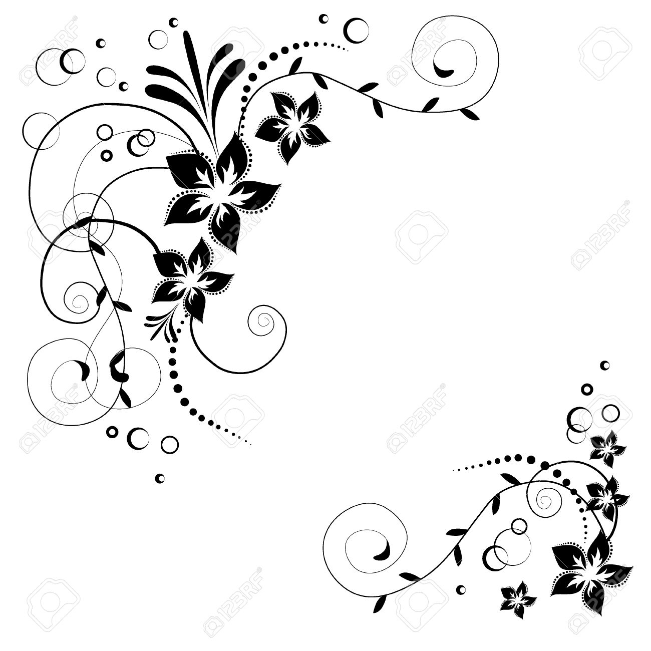 Flower Corner Black Flowers On White Background Flowery Invitation