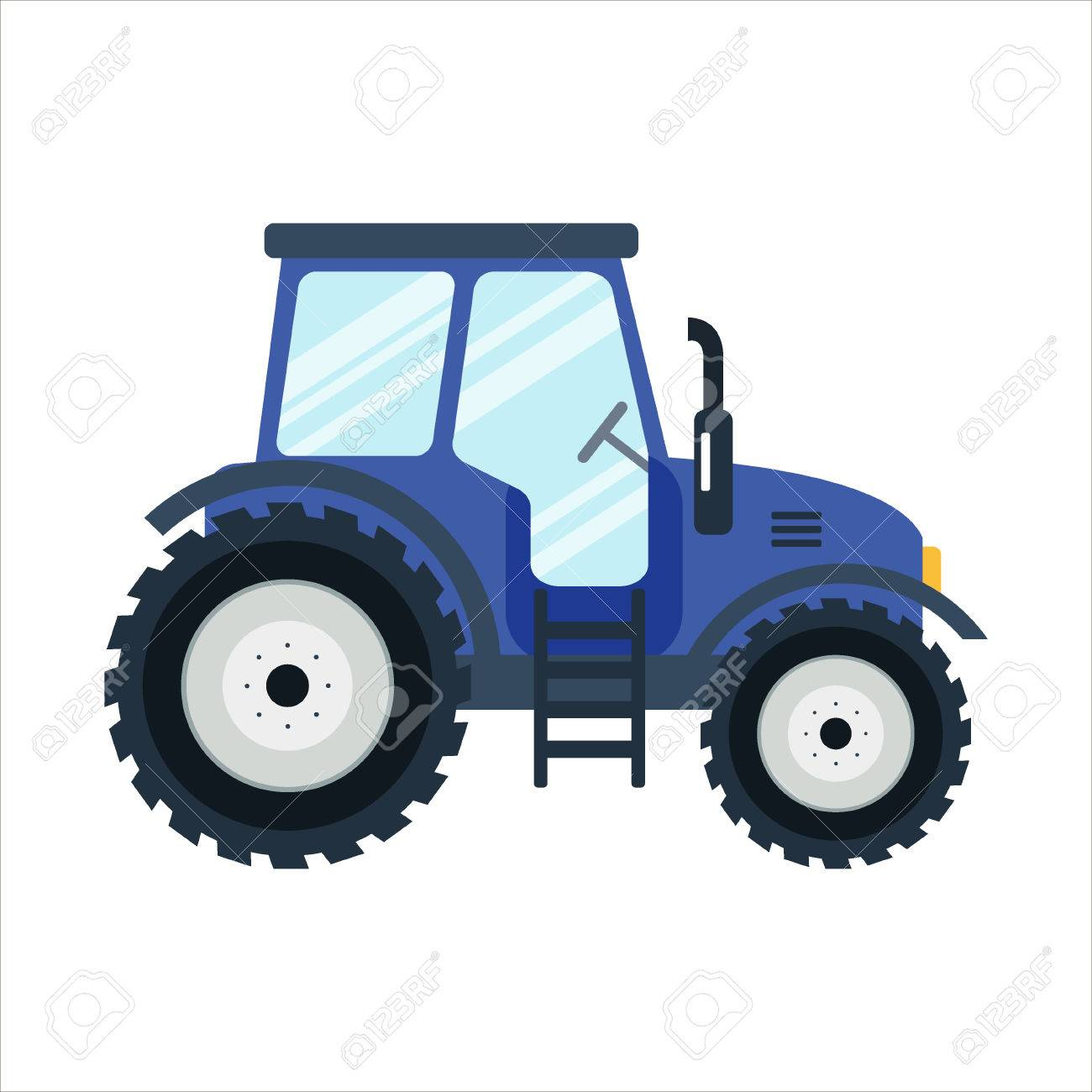 Icon Blue Tractor On White Background Royalty Free Cliparts Vectors