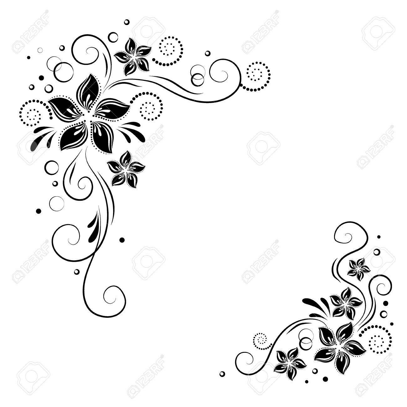 Floral corner design. Ornament black flowers. stock. Decorative border with flowery elements, flowers pattern - 68408828