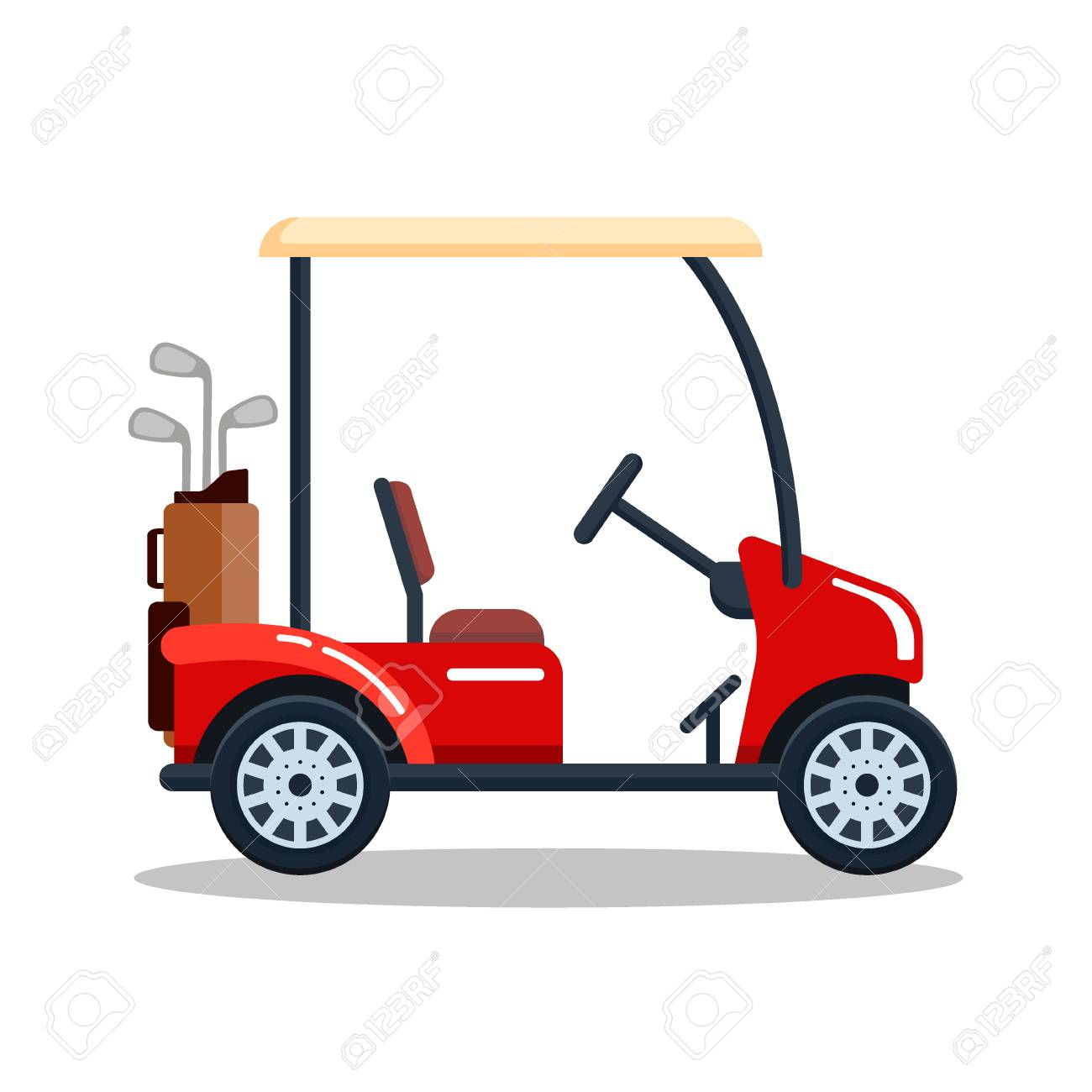 Vector electric golf car with golf club bag. Transport, vehile.. on red shopping cart, red push cart, red golf card,