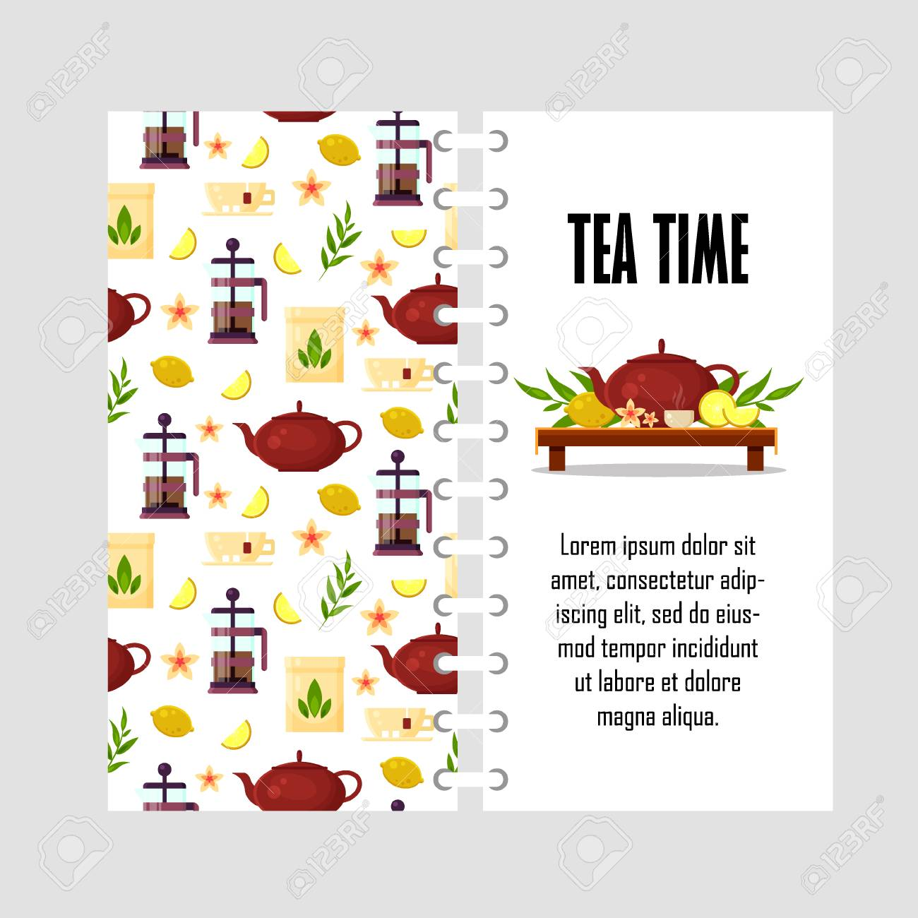 Vector Template With Teapot French Press Cup Lemon Tea Leaf