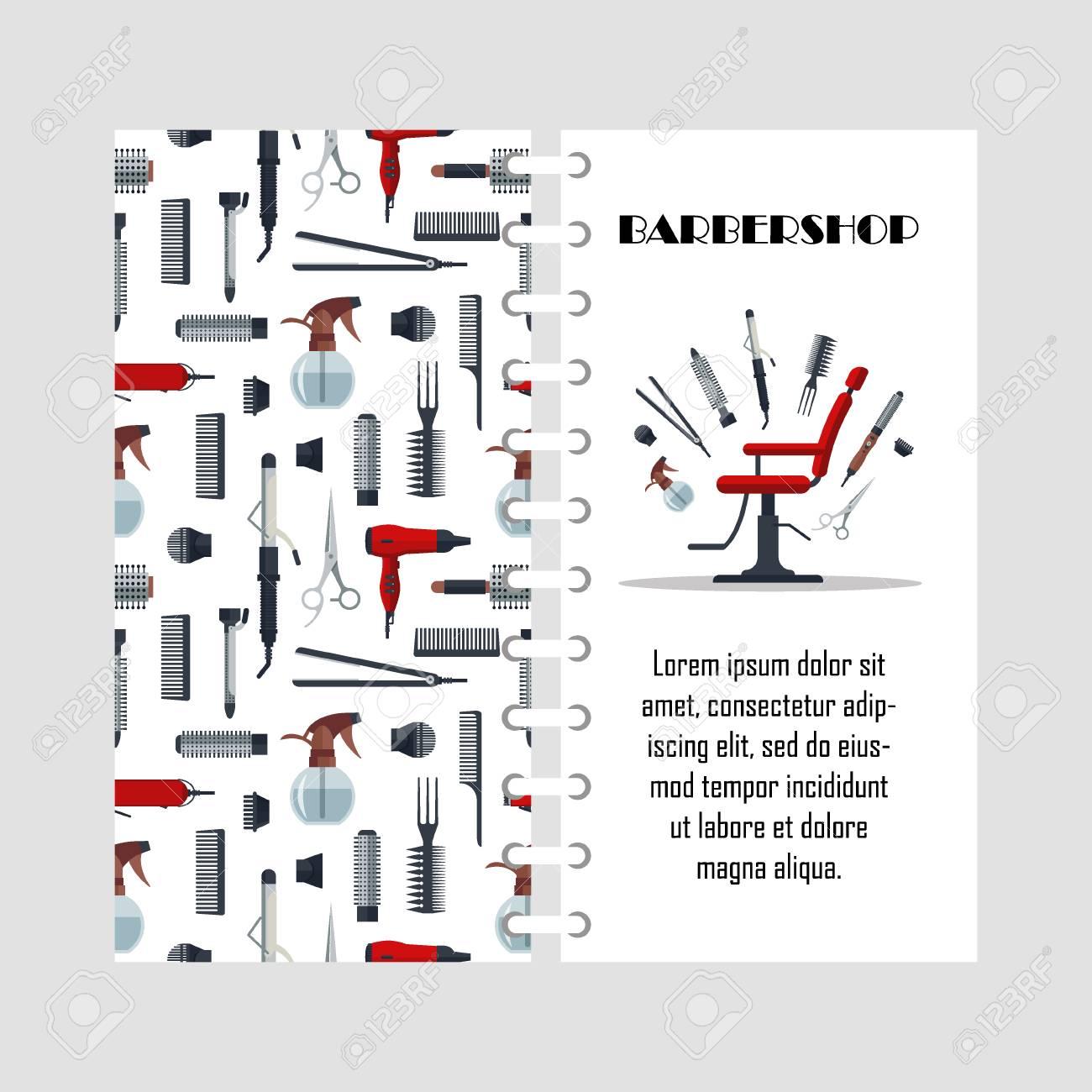 Modèle De Brochure Pour Salon De Coiffure. Clip Art Libres De Droits ...