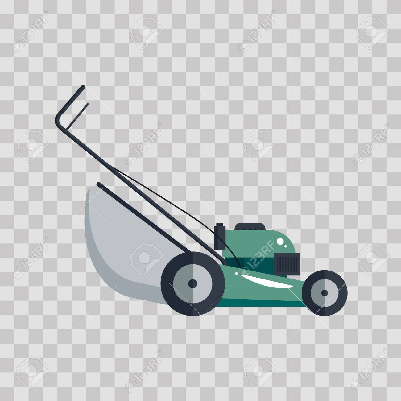 Lawn mower machine icon technology equipment tool, gardening grass-cutter on transparent background - vector illustration - 115033269