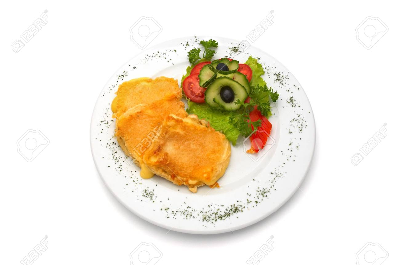 deep fried cheese in egg, with fresh vegetables, served on plate. Stock Photo - 574360