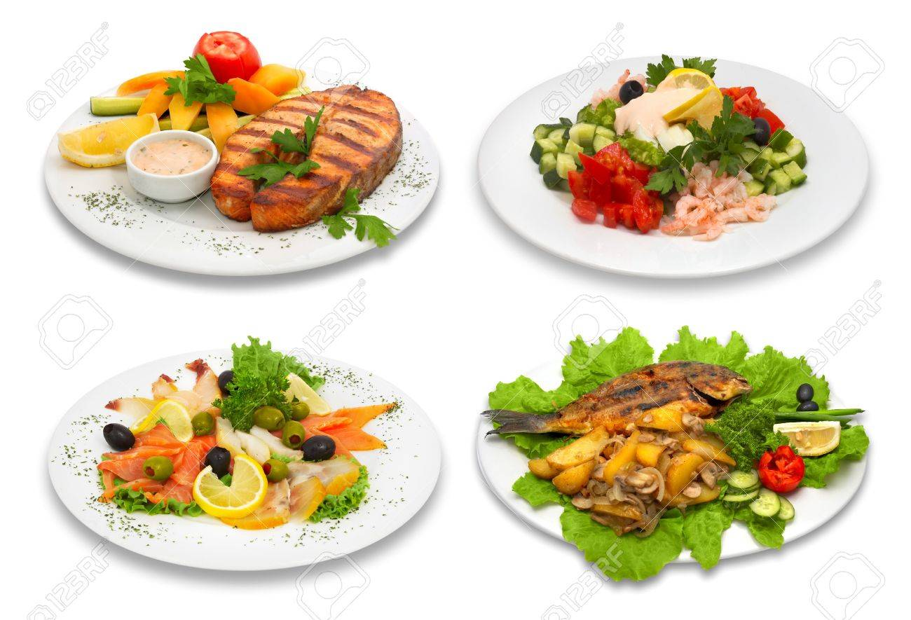 Four fish dishes. This image was created using four different shots. Standard-Bild - 964448