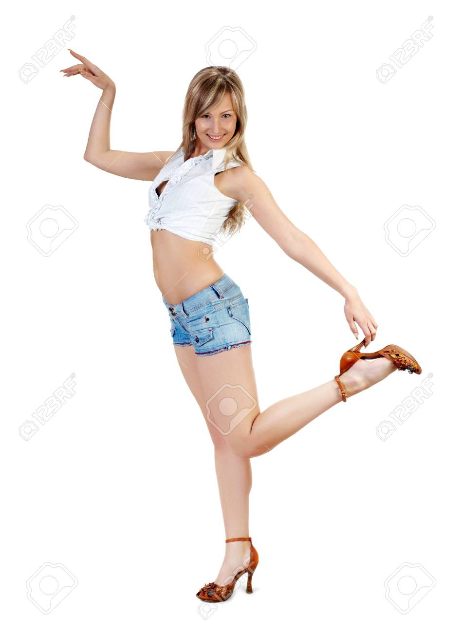 long legged cute blond girl in blue jeans shorts on white Stock Photo - 3001573