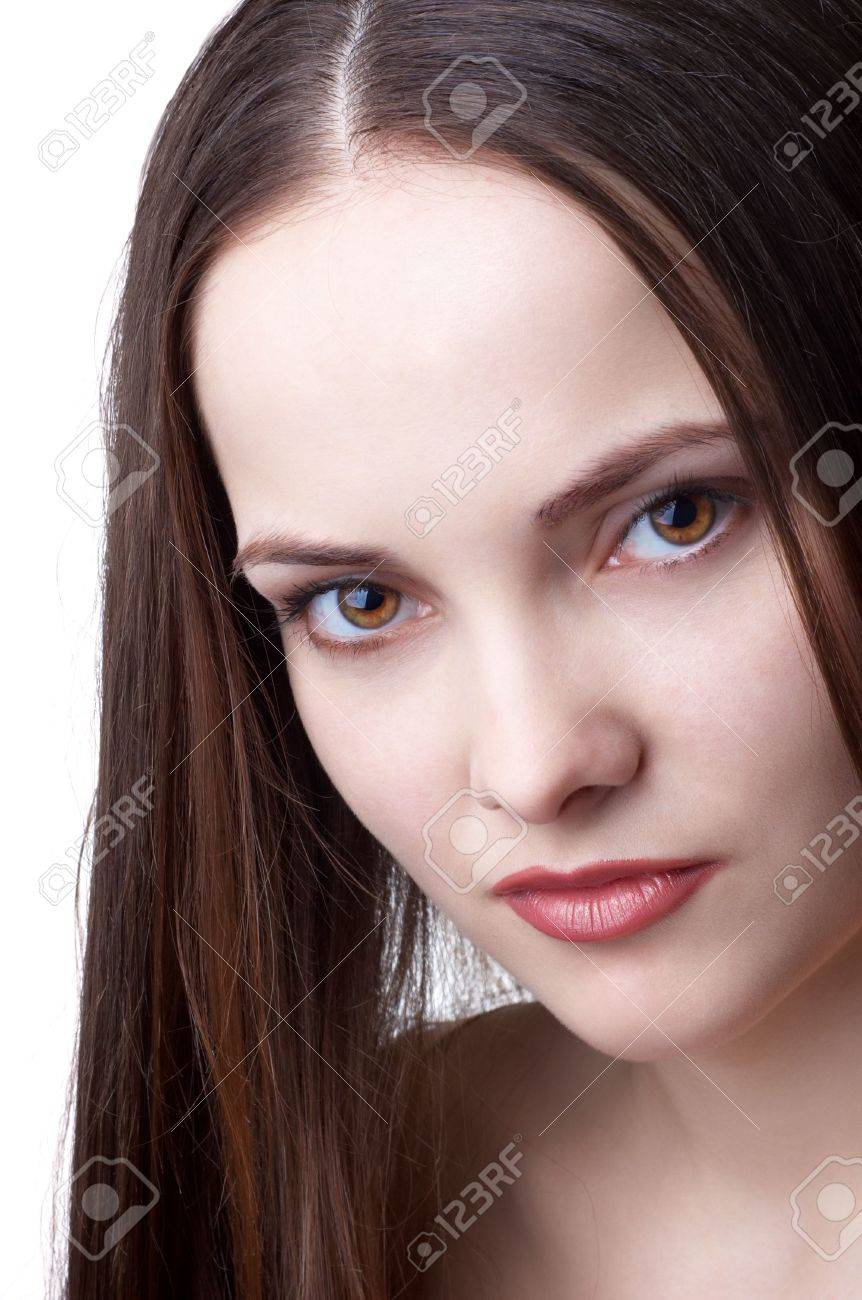 Beautiful Brunette Girl Face With Beauty Spot Stock Photo